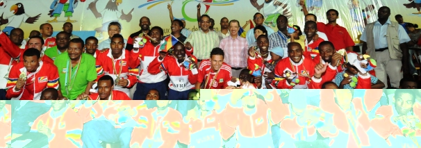 Seychelles' football gold medal-winning team with President Michel