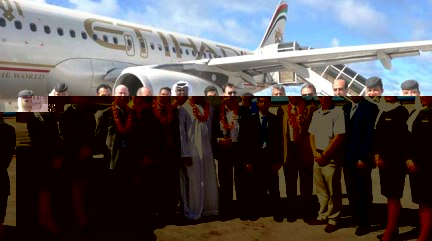 Etihad Airways on arrival at Seychelles International Airport in November, marking the start of its operations to the islands from Abu Dhabi