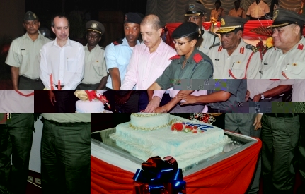 President Michel cuts the cake to mark the occasion