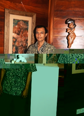The three artists next to some of their works on display: (from l to r) Camille..