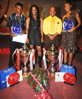 Georges (2nd left) stands a chance of defending her Sportswoman of the Year title, while Allisop, Dixie and Labiche will be succeeded as Young Male Athlete of the Year, Sportsman of the Year and Young Female Athlete of the Year on January 20