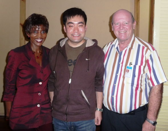 Mr Jia Yin (centre) with Mrs Jovanovic-Desir and Mr St Ange