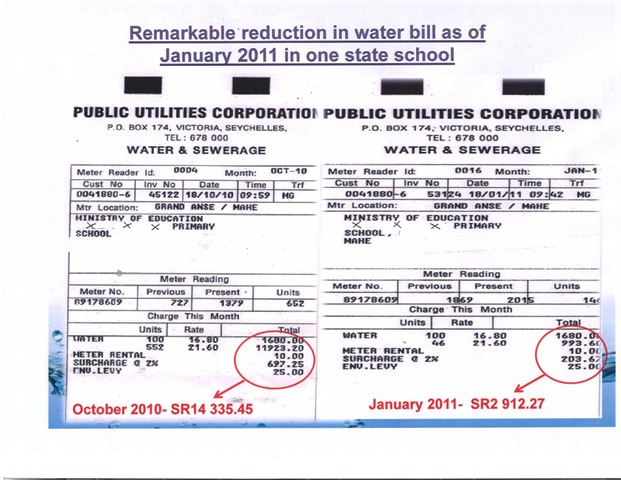 Two bills showing dramatic reduction after installation of rainwater harvesting system