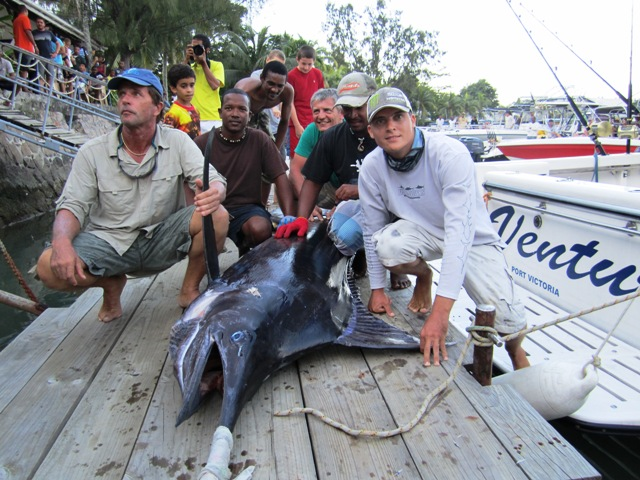 The Venture crew with their 250kg marlin