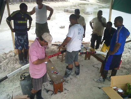 Repairing the damaged cable on Saturday