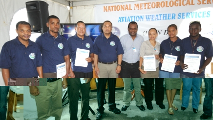 Staff who had followed training in automatic weather station operations and maintenance in a souvenir photograph with PS Dogley and other NMS officials