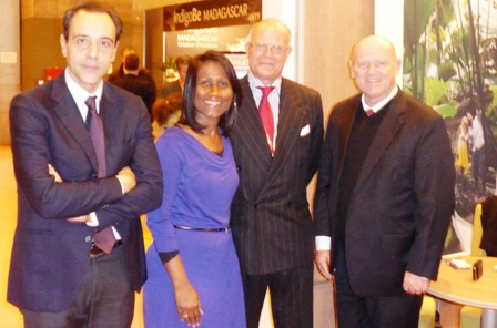Mr St Ange (right) and Mrs Willemin in a souvenir photo with Franco C.B. Pecci, chairman and CEO of Blue Panorama Airlines, and the company's vice-president sales, Remo Della Porta