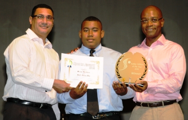 Farabeau (centre) is crowned Young Male Athlete of the Year