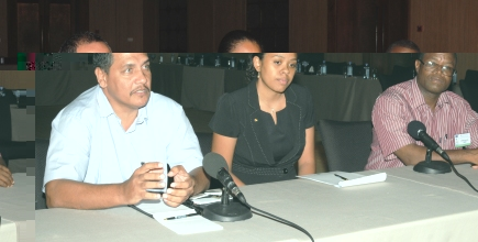 Mr Nalletamby (left) speaking to the press yesterday after the meeting