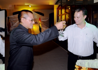 Minister Adam and high commissioner Darlong proposing a toast