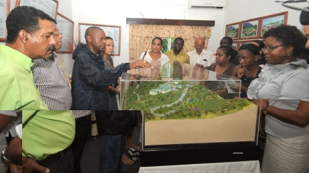 Viewing a maquette of how the new academy will look