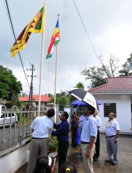 The hoisting of Seychelles' and Sri Lanka's flags at eysterday's ceremony
