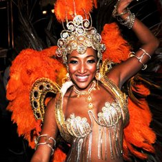 Flamboyant Brazilian samba dancer