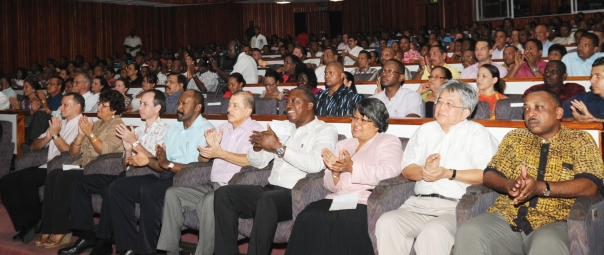 Guests watching the various performances and illustrations at Friday's ceremony