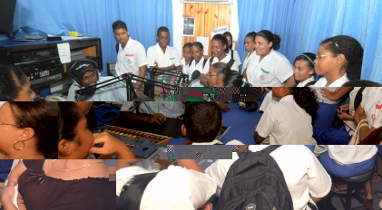 English River secondary school students joined radio presenter Steven Rose in the Union Vale studio yesterday