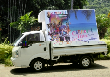 The truck with its double-sided billboard