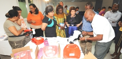 Guests viewing the donations of equipment