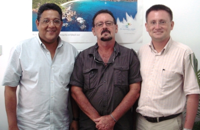 The Seychelles delegation: (from l tor ) Messrs Alvis, Burridge and Renard