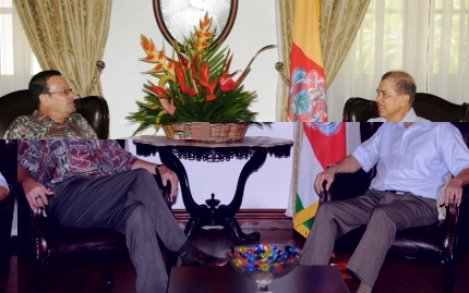 Mr Jumeau in discussion with President Michel yesterday at State House