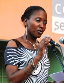 Stephanie during a poem recital