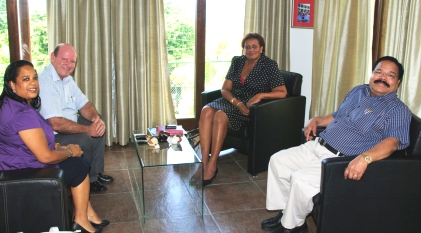 Mrs Didon, Minister St Ange, Mrs Michaud and Dr Ramadoss during the meeting