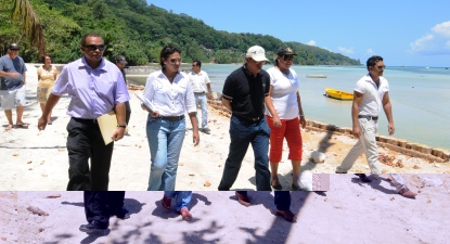 Minister Payet and his delegation walking along the rehabilitated Anse à La Mouche beach