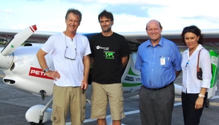 Pictured in front of the ultra light motor glider Virus -SW914, Mr Lenarčič (second left) was met by Minister St Ange, Mrs Grandcourt and Mr King-Harman