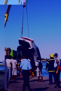 Mr Rose's car being removed from the sea
