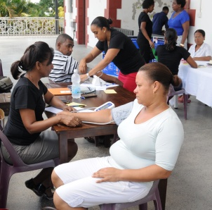 Health workers taking part in yesterday's screening test