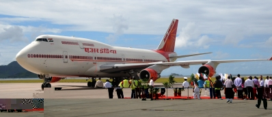 The special Air India Boeing 747 which flew President Patil and her delegation