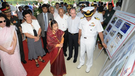 President Patil is guided through an exhibition at the SPDF air wing