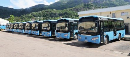 The ten new buses at the SPTC New Port Depot