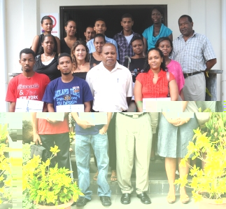 The young entrepreneurs in a souvenir photograph with guests who attended the certificate presentation ceremony