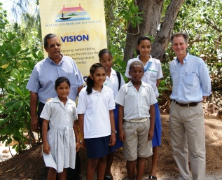 Mr. Nanty and Mr. Hirst with the school children
