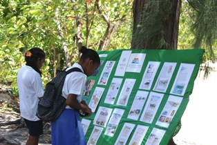 Students viewing the exhibition