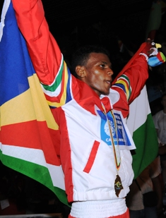 Andrique celebrating his win over Mauritian Bruno Julie at last year's Indian Ocean Island Games on home soil
