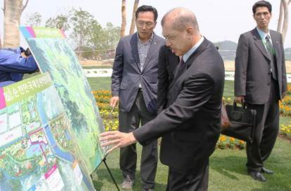 President Michel visiting the site of the Suncheon Garden Expo 2013