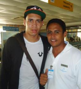 Smalling pictured with Manchester United fan Gustave Decommarmond in Seychelles
