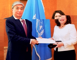 Ms Fock Tave presents her credentials to Mr Tokayev