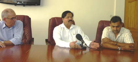 The SCCI chairman Dr Ramadoss (centre) and members, Messrs Benoiton (left)and Jivan during their interview