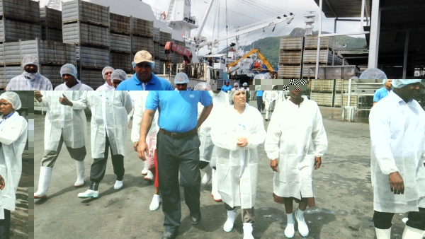 Minister Alexander and her entourage during the visit yesterday