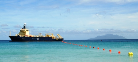 The ship Ile de Sein, anchored off Beau Vallon beach, was used for the laying of the undersea cable all the way from Dar es Salaam, Tanzania to Seychelles
