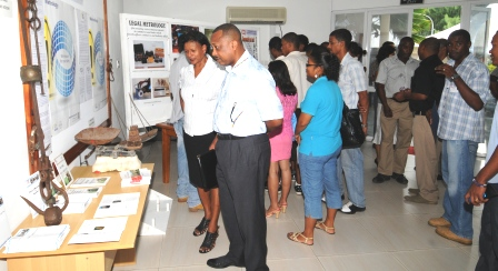 Guests viewing the displays in the exhibition