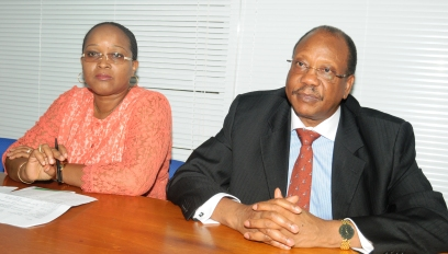 Dr Hoseah, accompanied by Ms Tall, during a meeting with members of the media on Wednesday