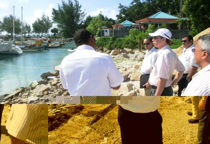 Minister Morgan and his delegation visiting the island's jetty