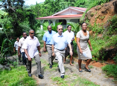 President Michel resumed his district visits yesterday with a tour of Port Glaud and Grand Anse