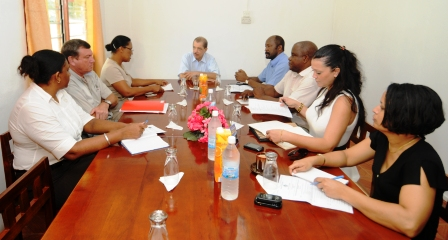 Mr Michel and his delegation's visit starts with a meeting at the district administration office