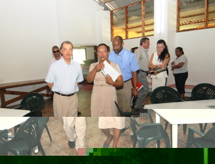 Inspecting the renovated Port Glaud community centre