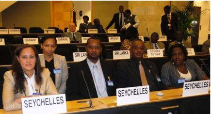 The Seychelles delegation at the ILO conference. Minister Alexander is first left