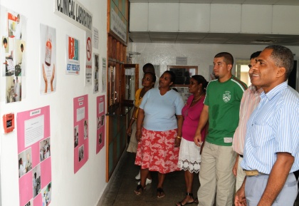 Visitors viewing the exhibition, one of the activities organised to mark Laboratory Week